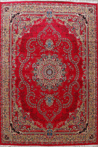 Floral Red Tabriz Turkish Oriental Area Rug 10x13