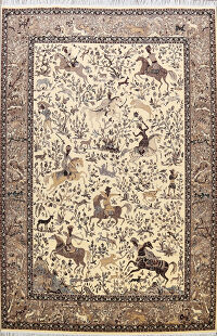 Hunting Design Tabriz Turkish Oriental Area Rug 10x13