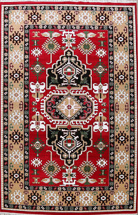 Geometric Red Tabriz Turkish Oriental Area Rug 10x14