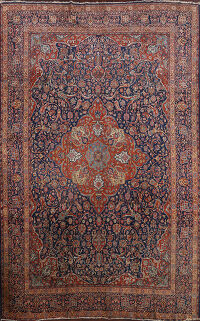 Antique Vegetable Dye Kashan Dabir Persian Area Rug 9x12