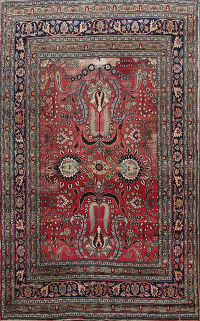 Floral Red Vegetable Dye Dorokhsh Persian Area Rug 6x9