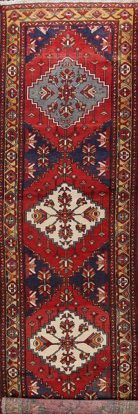 Vintage Geometric Red Ardebil Persian Runner Rug 3x14