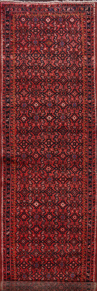 Red Hossainabad Persian Runner Rug 4x13