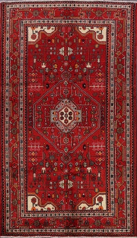Geometric Red Nahavand Hamedan Persian Area Rug 5x8