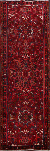 Geometric Heriz Persian Red Runner Rug 4x11