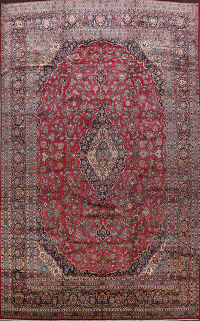 Antique 100% Vegetable Dye Kashan Persian Area Rug 10x15