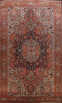 Antique Heriz Serapi Vegetable Dye Persian Area Rug 12x19