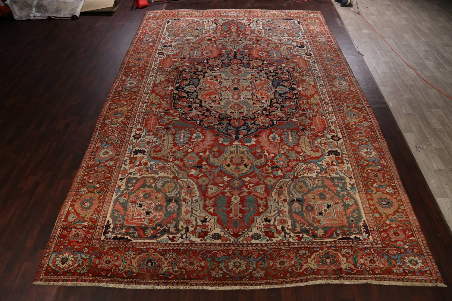 Antique Heriz Serapi Vegetable Dye Persian Area Rug 12x19 image 2