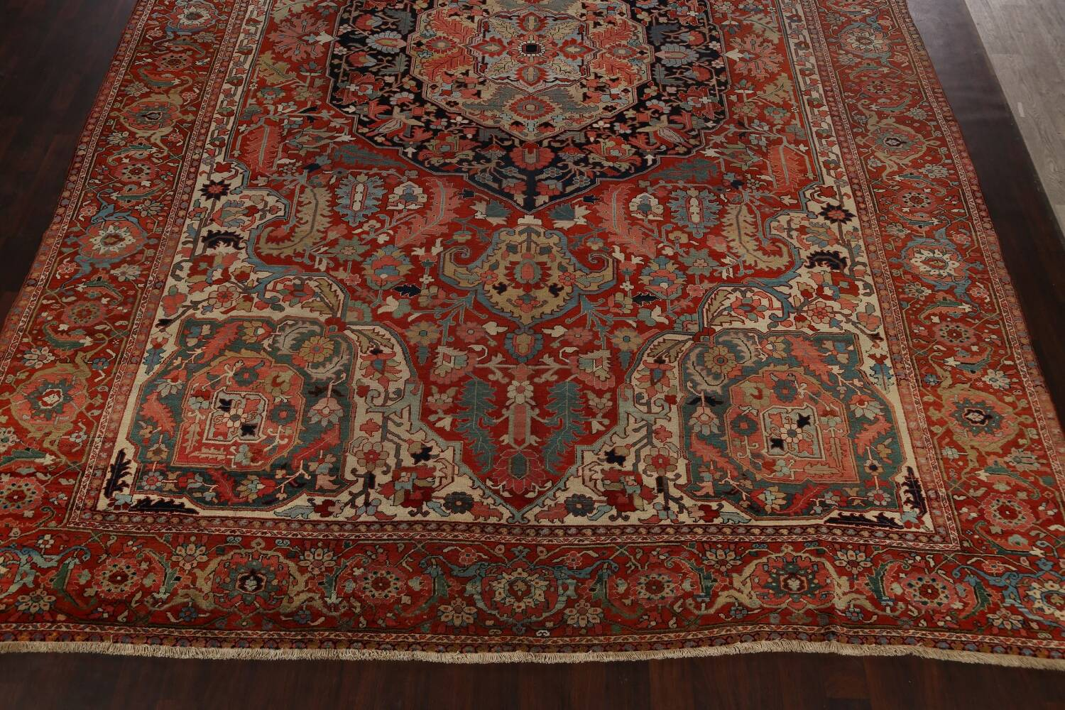 Antique Heriz Serapi Vegetable Dye Persian Area Rug 12x19 image 8