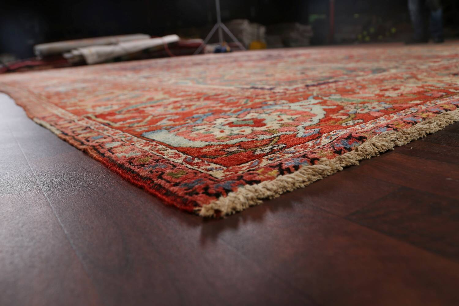Antique Heriz Serapi Vegetable Dye Persian Area Rug 12x19 image 6