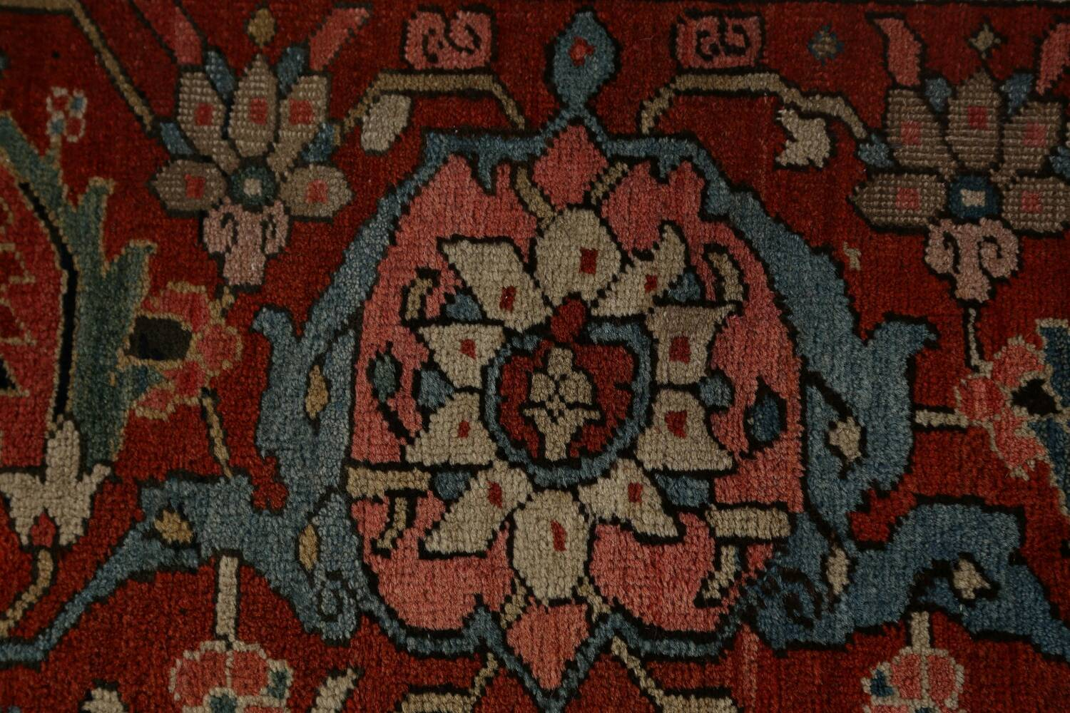 Antique Heriz Serapi Vegetable Dye Persian Area Rug 12x19 image 9