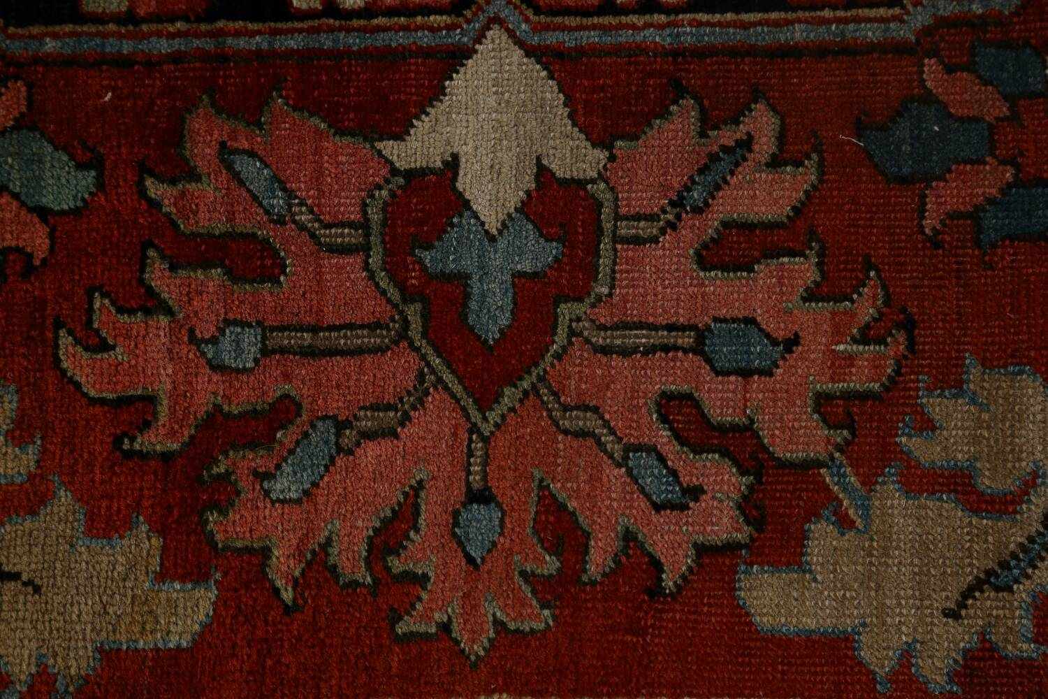 Antique Heriz Serapi Vegetable Dye Persian Area Rug 12x19 image 10