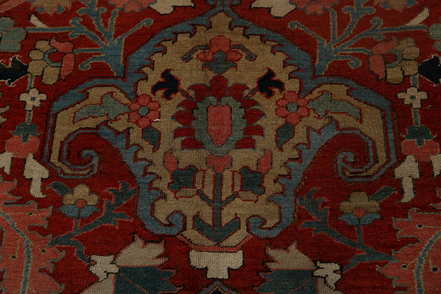 Antique Heriz Serapi Vegetable Dye Persian Area Rug 12x19 image 11