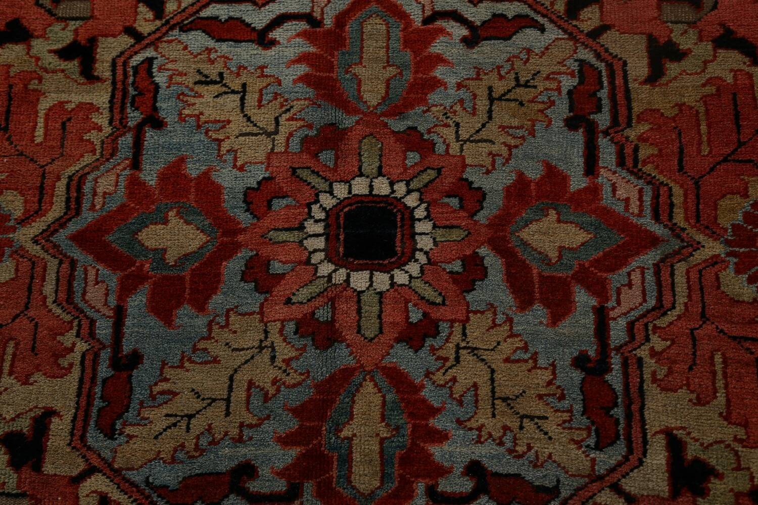 Antique Heriz Serapi Vegetable Dye Persian Area Rug 12x19 image 12