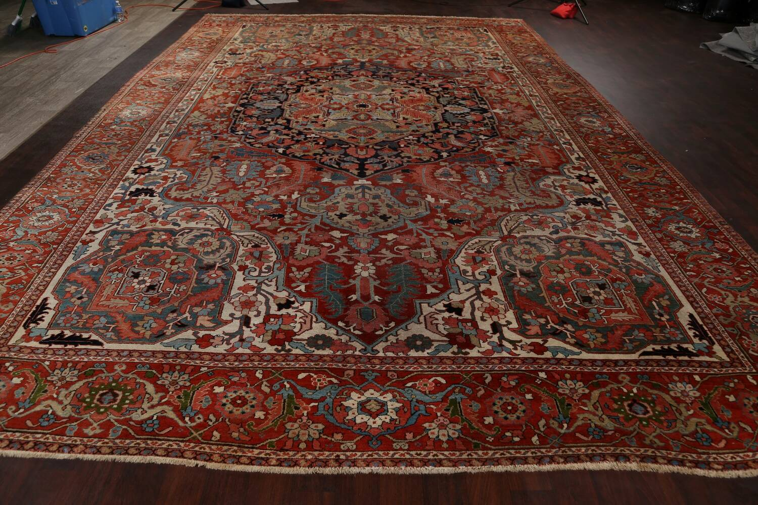 Antique Heriz Serapi Vegetable Dye Persian Area Rug 12x19 image 18
