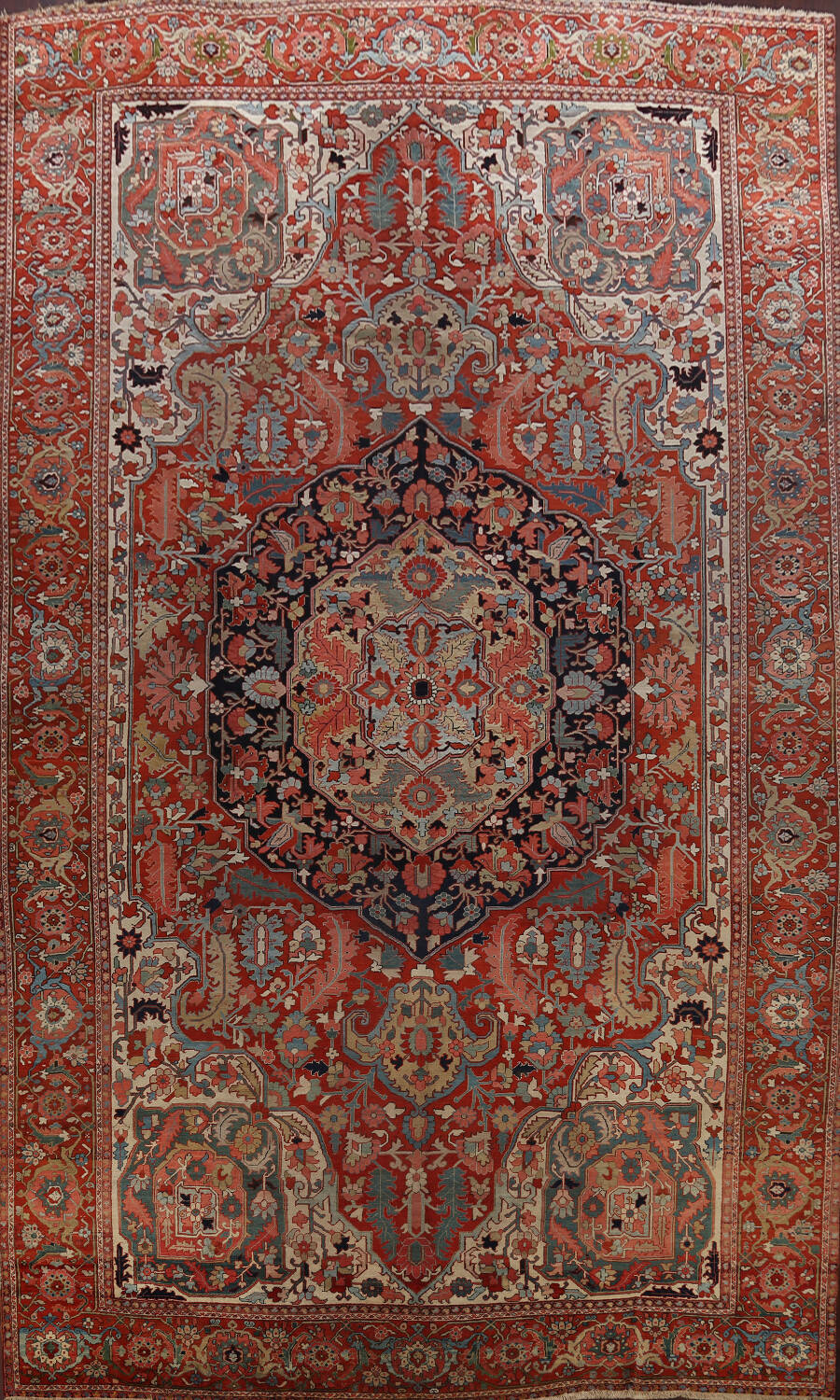 Antique Heriz Serapi Vegetable Dye Persian Area Rug 12x19 image 1