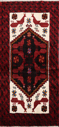 Animal Pictorial Balouch Afghan Area Rug 3x6