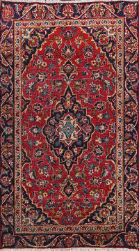 Antique Floral Kashan Persian Area Rug 3x5