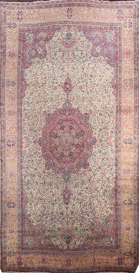 Antique Vegetable Dye Kerman Lavar Persian Rug 14x25 Large FINE