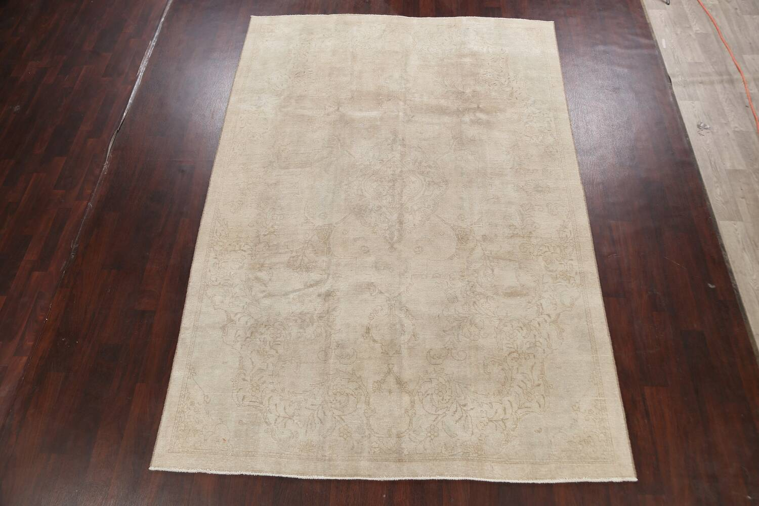 Antique Muted Floral Tabriz Persian Area Rug 7x11 image 2