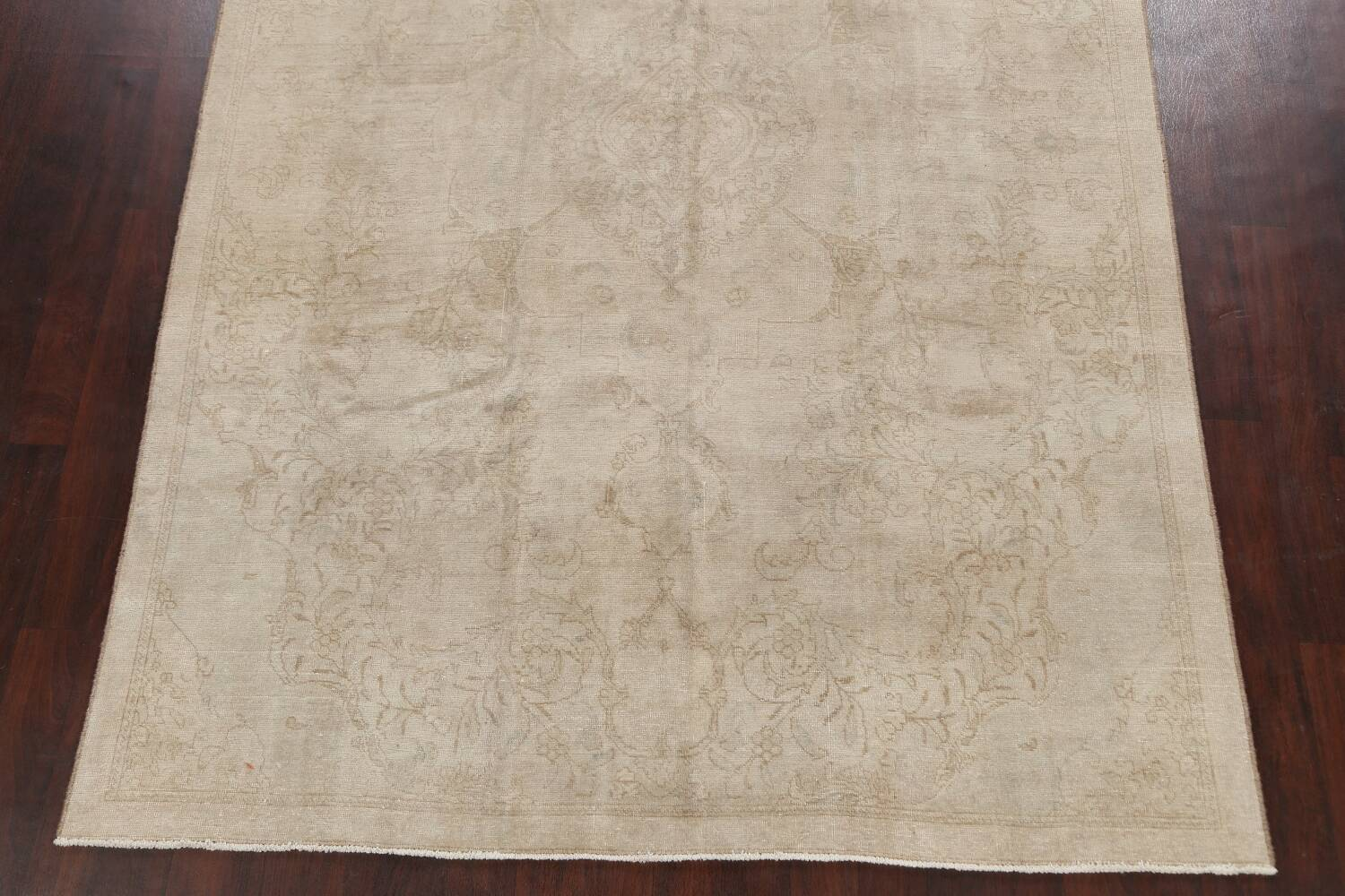 Antique Muted Floral Tabriz Persian Area Rug 7x11 image 8