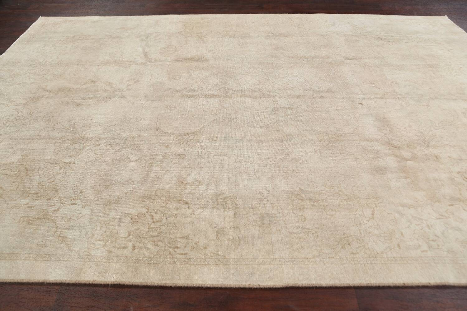 Antique Muted Floral Tabriz Persian Area Rug 7x11 image 14