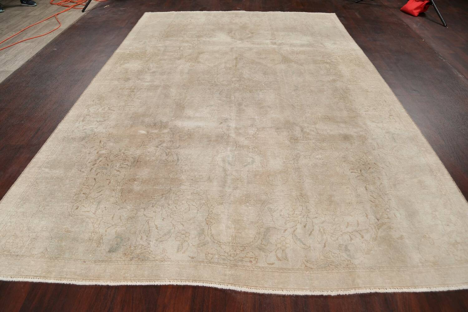 Antique Muted Floral Tabriz Persian Area Rug 7x11 image 15