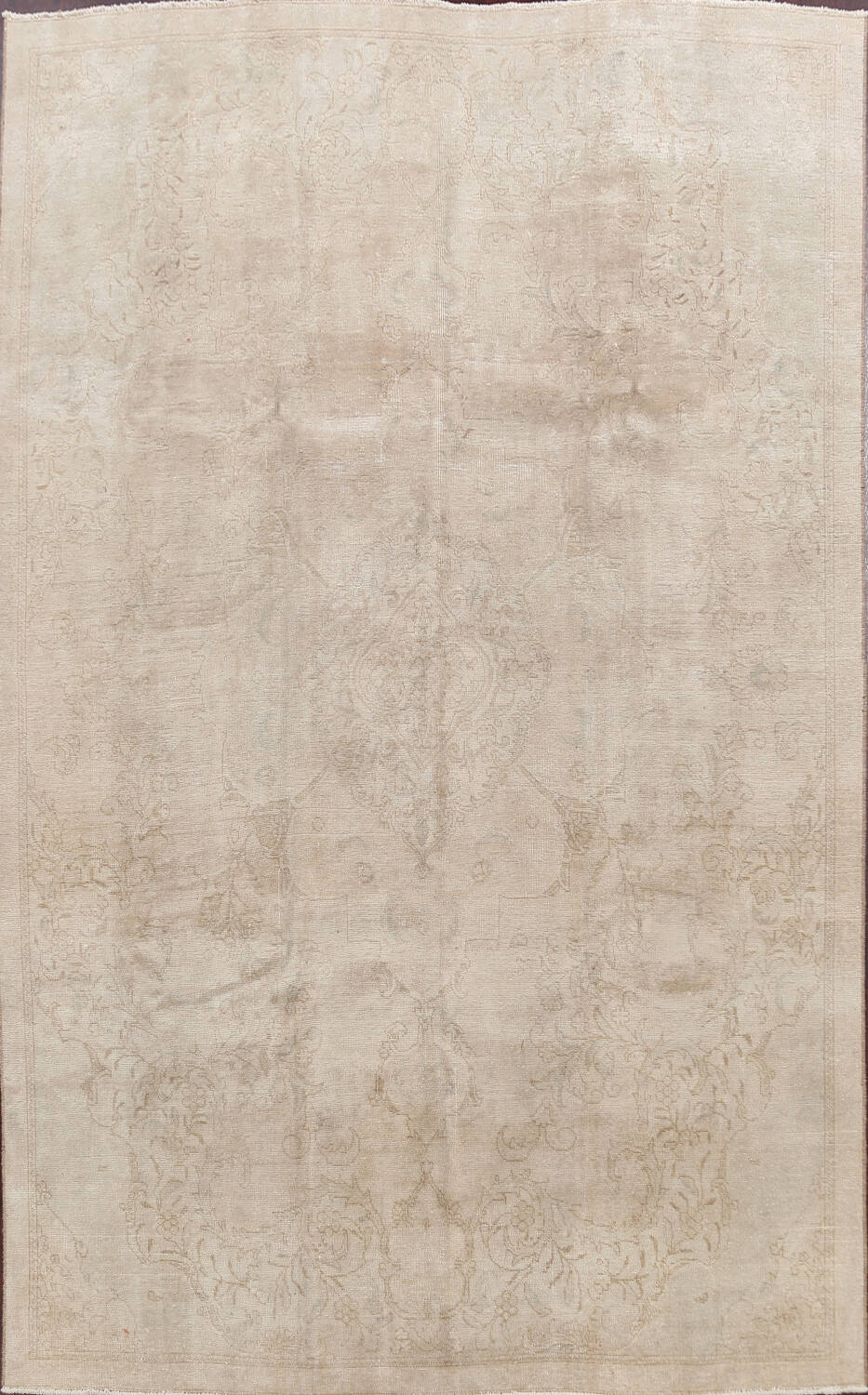 Antique Muted Floral Tabriz Persian Area Rug 7x11 image 1