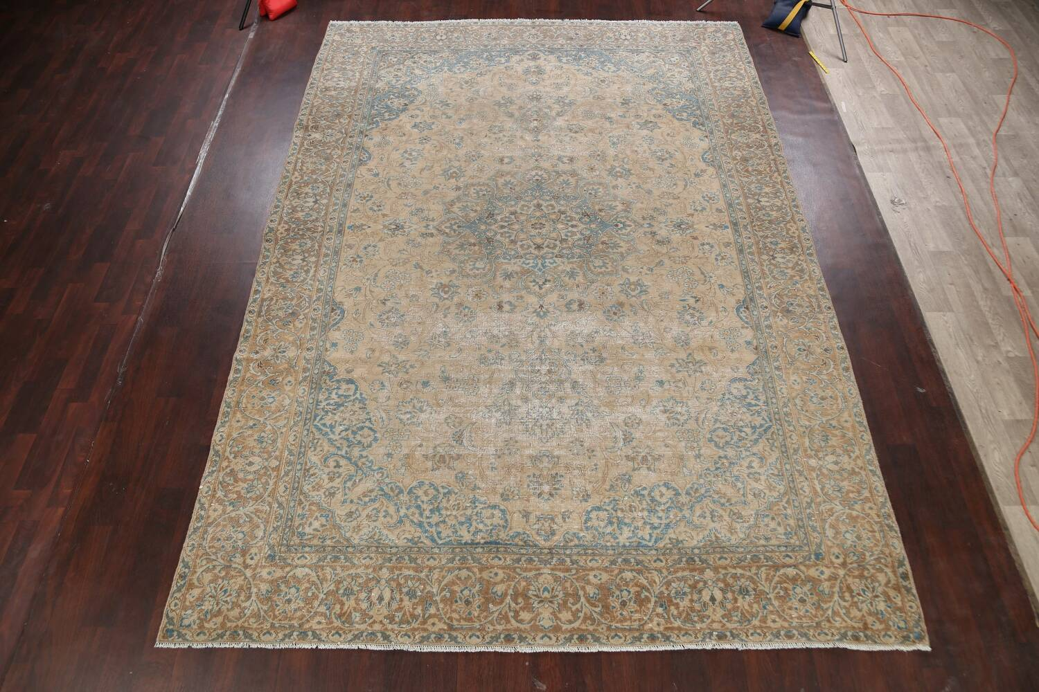Antique Muted Floral Mashad Persian Area Rug 9x13 image 2