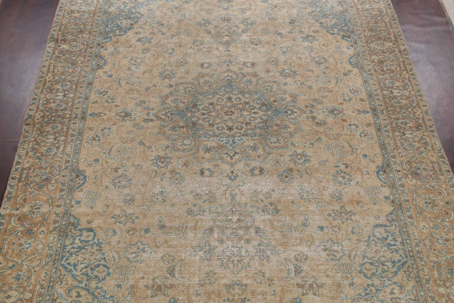 Antique Muted Floral Mashad Persian Area Rug 9x13 image 3