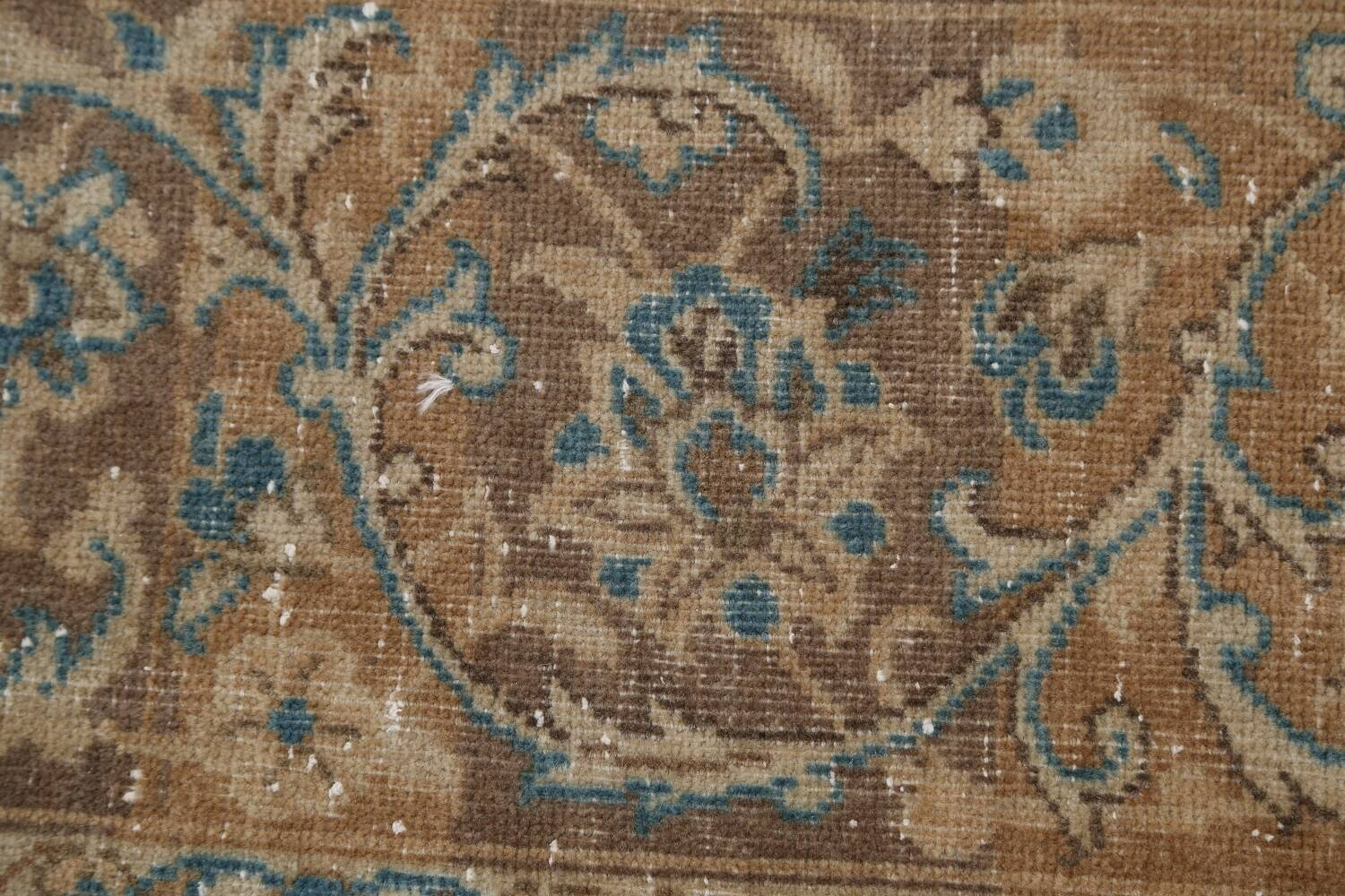 Antique Muted Floral Mashad Persian Area Rug 9x13 image 9