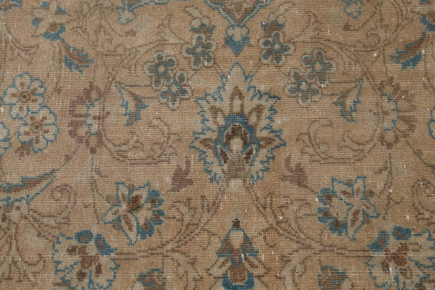 Antique Muted Floral Mashad Persian Area Rug 9x13 image 10