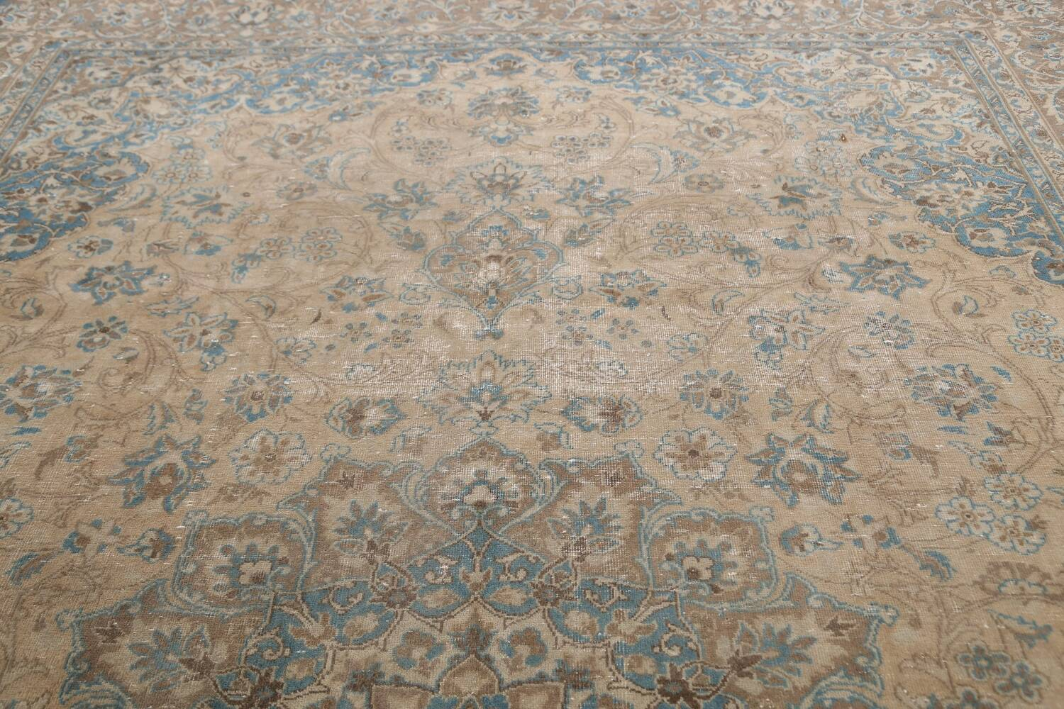 Antique Muted Floral Mashad Persian Area Rug 9x13 image 12