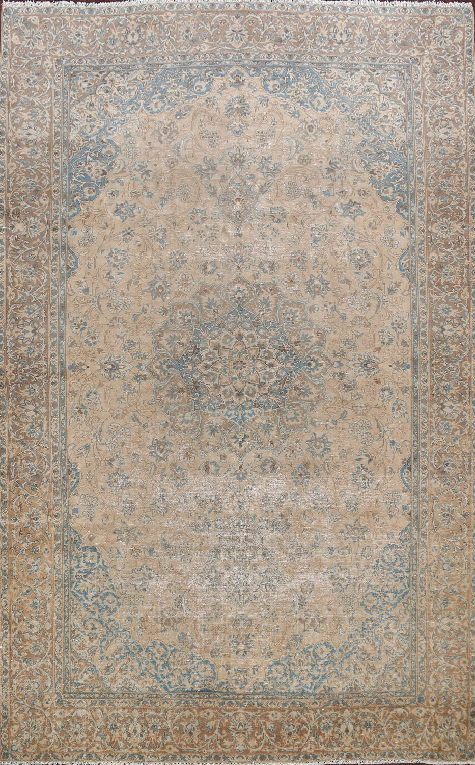 Antique Muted Floral Mashad Persian Area Rug 9x13 image 1