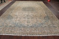 Antique Muted Floral Mashad Persian Area Rug 9x13 image 15