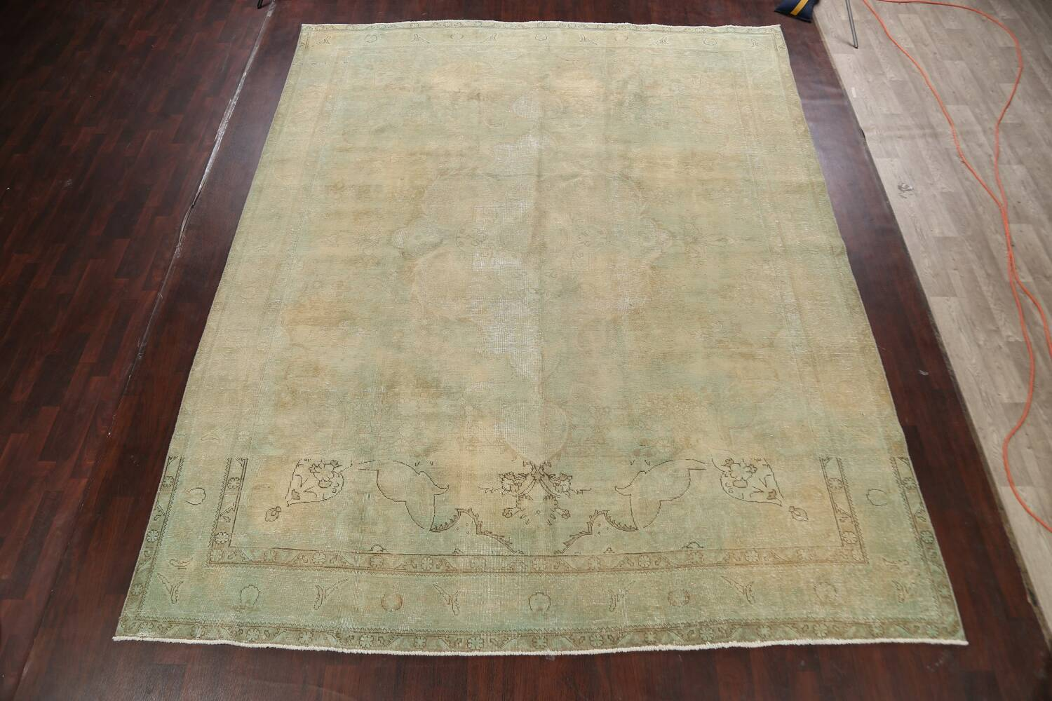 Antique Muted Floral Mashad Persian Area Rug 10x13 image 2