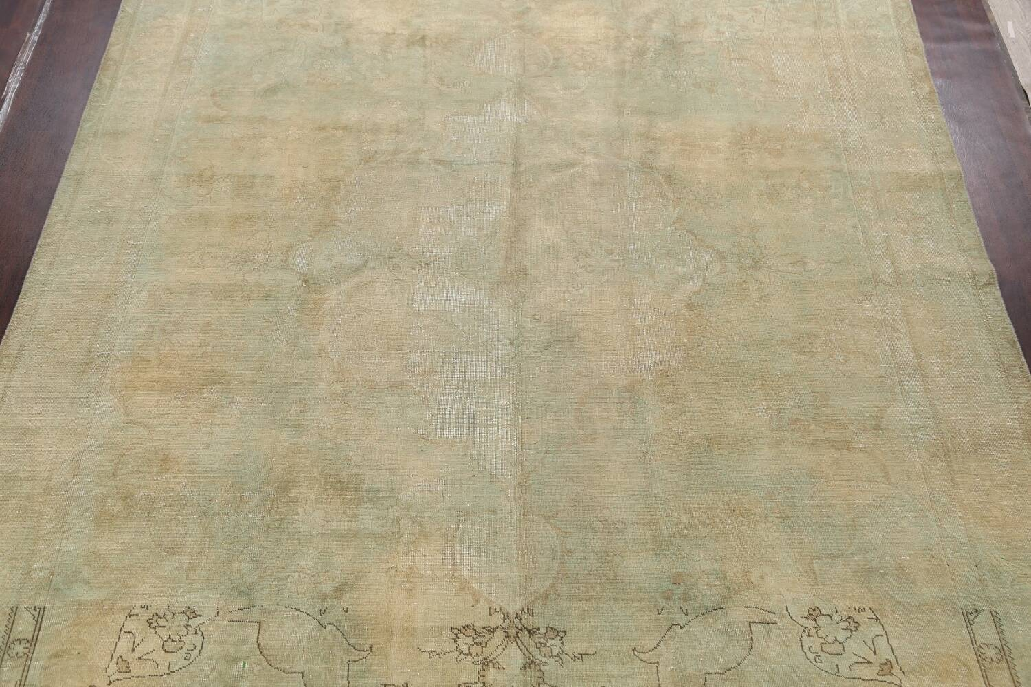Antique Muted Floral Mashad Persian Area Rug 10x13 image 3