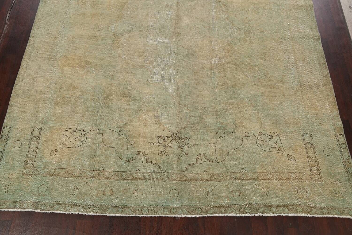 Antique Muted Floral Mashad Persian Area Rug 10x13 image 8