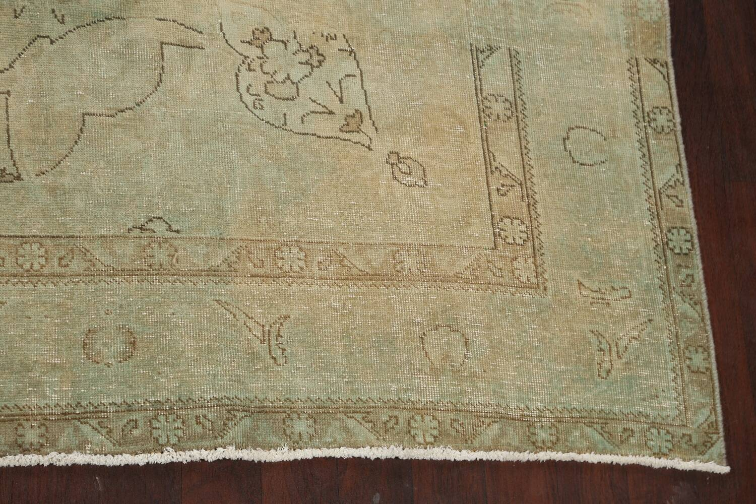 Antique Muted Floral Mashad Persian Area Rug 10x13 image 5