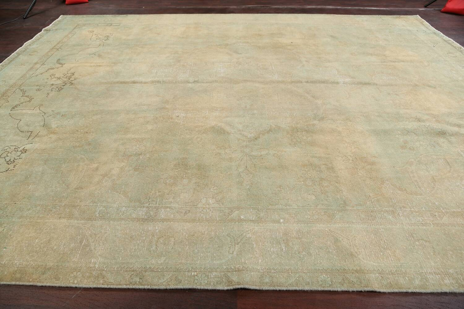 Antique Muted Floral Mashad Persian Area Rug 10x13 image 13