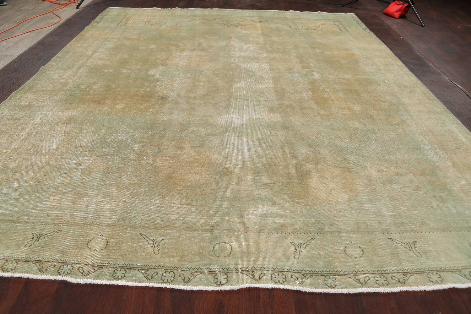 Antique Muted Floral Mashad Persian Area Rug 10x13 image 14