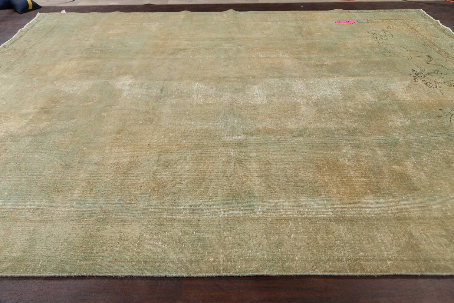 Antique Muted Floral Mashad Persian Area Rug 10x13 image 21