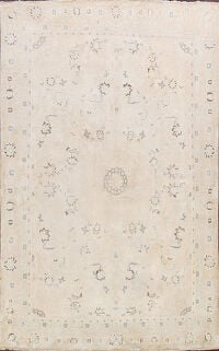Antique Muted Geometric Kashan Persian Area Rug 8x12