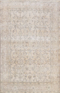 Muted Distressed Tabriz Persian Area Rug 7x9