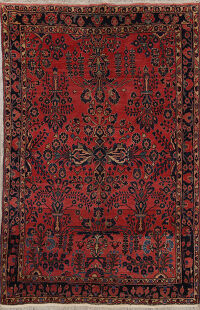 Antique Floral Sarouk Persian Area Rug 5x7