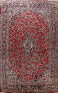 Antique Kashan 100% Vegetable Dye Persian Rug 11x17 Large