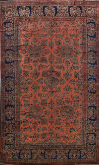 Pre-1900 Antique Vegetable Dye Kashan Persian Rug 10x11
