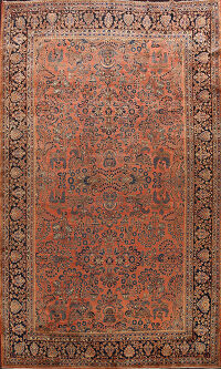 Antique Vegetable Dye Sarouk Persian Area Rug 11x16 Large