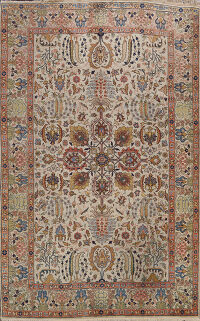 Antique Floral Tabriz Persian Area Rug 7x10