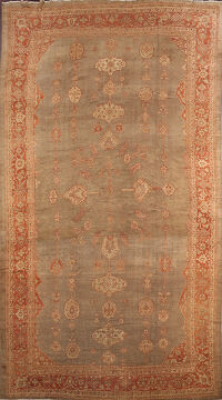 Pre-1900 Antique Sultanabad Persian Rug 13x20